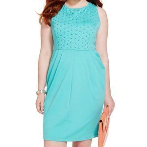 Eloquii Tonal Studded Ponte Dress Teal 20 Pockets